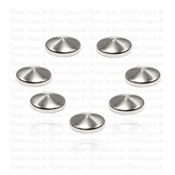 Hotfix Kegelnieten zum Aufbügeln in Silber 10 mm