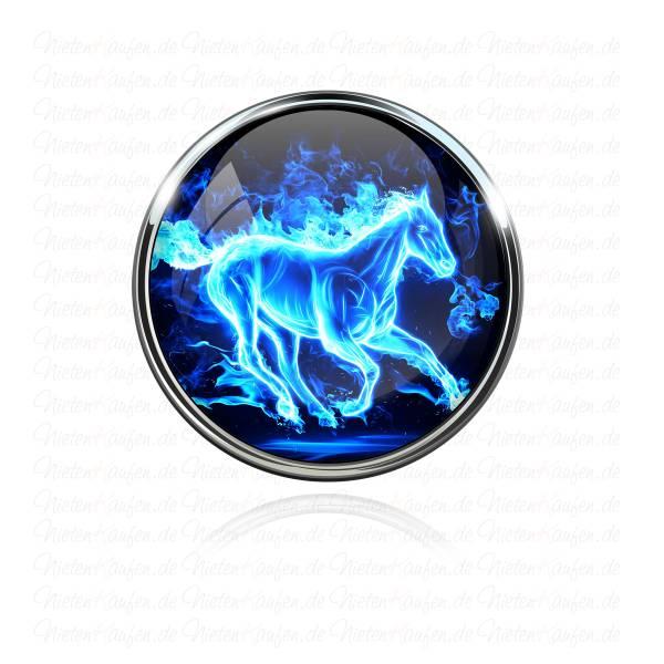 Blue Fire Horse Chunk Button für 18 mm Chunk Druckknopf Systeme