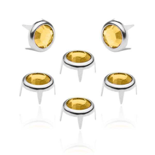 8 mm Strassnieten Silber Gelb