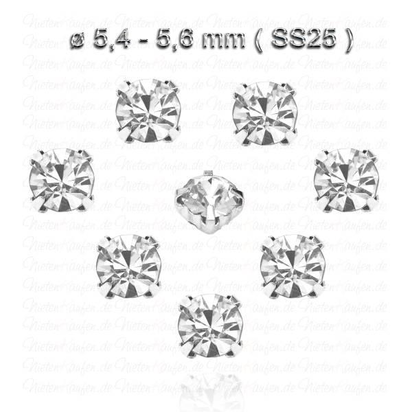 Weiße Kristall Strasssteine zum Aufnähen mit Fassung - SS25