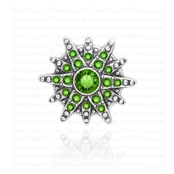 Sternen Chunk Button aus Metall mit grünen Zirkoniasteinen