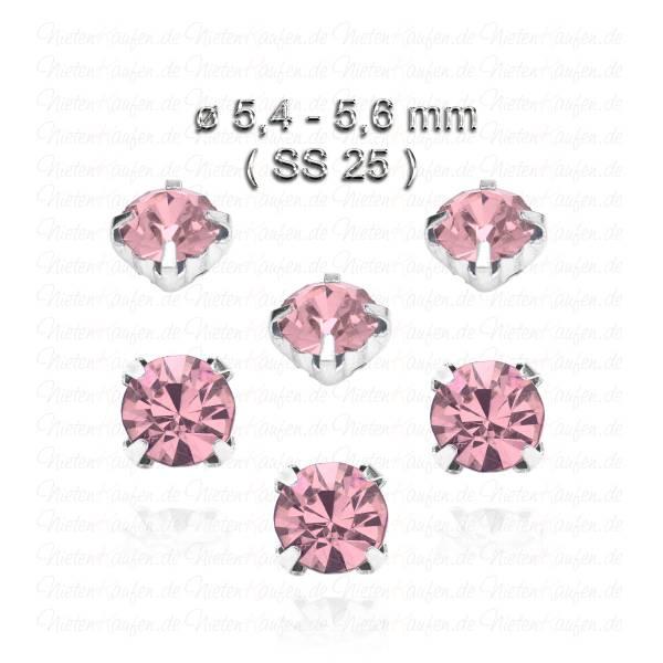 Roséfarbene Kristall Strasssteine zum Aufnähen mit Fassung ( SS25 )