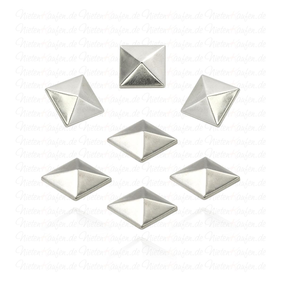 50 Dreiecks Pyramidennieten Nieten  9,5 mm  silber