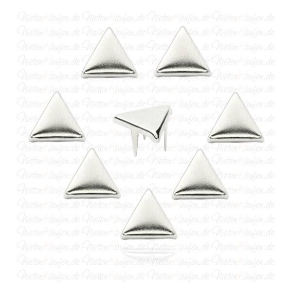 Flache 9 mm  Dreieck Nieten Silber