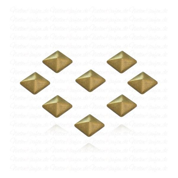 Hotfix Pyramidennieten zum aufbügeln Altmessing 7 mm
