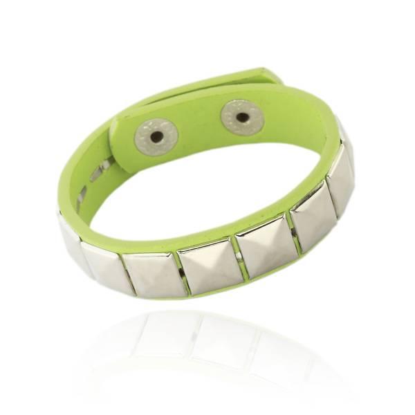 Nietenarmband mit Pyramidennieten - Ledernieten Armband  Grün