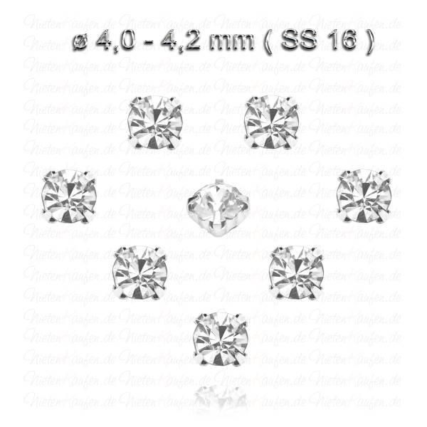 Weiße Kristall Strasssteine zum Aufnähen mit Fassung - SS16