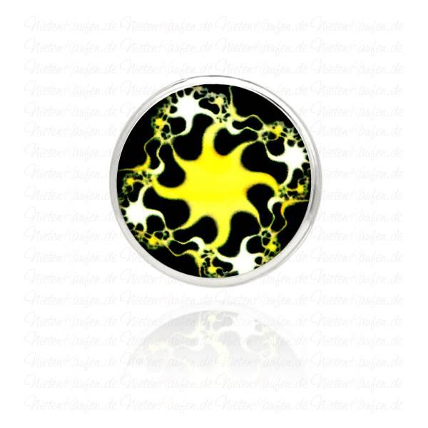 18 mm Modern Art Chunk Button - Chunk Druckknopf mit Sonnen Motiv