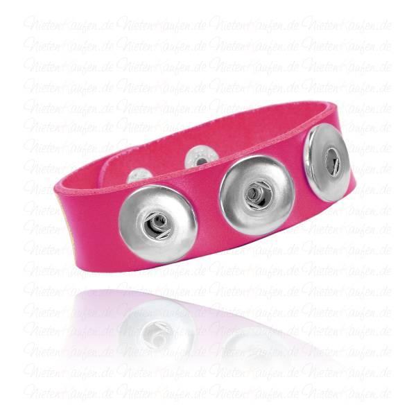 Pinkfarbenes Lederarmband Für 18mm Chunks Buttons