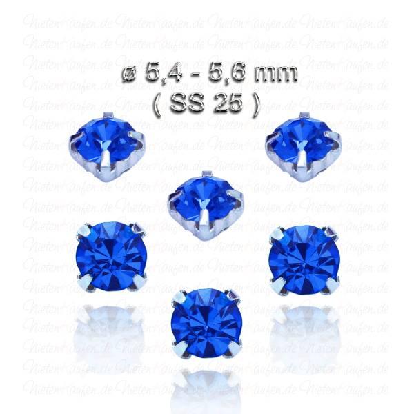 Kobaltblaue Kristall Strasssteine zum Aufnähen mit Fassung ( SS25 )
