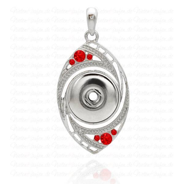 Ovaler Chunk Kettenanhänger - mit roten Zirkonia Steinen für 18 mm Chunk Druckknöpfe