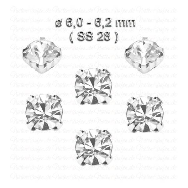 Weiße Kristall Strasssteine zum Aufnähen mit Fassung ( SS28 ) ø 6.0