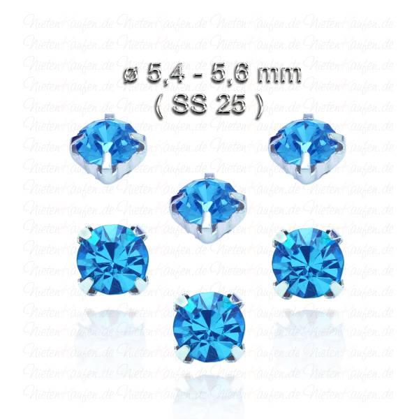 Capriblaue Kristall Strasssteine zum Aufnähen mit Fassung ( SS25 )