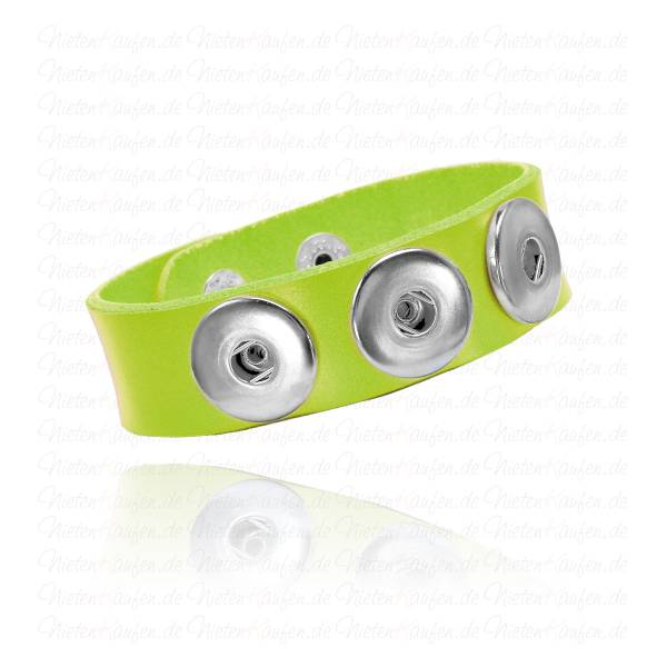 Neon Gelbes Lederarmband Für 18mm Chunks Buttons
