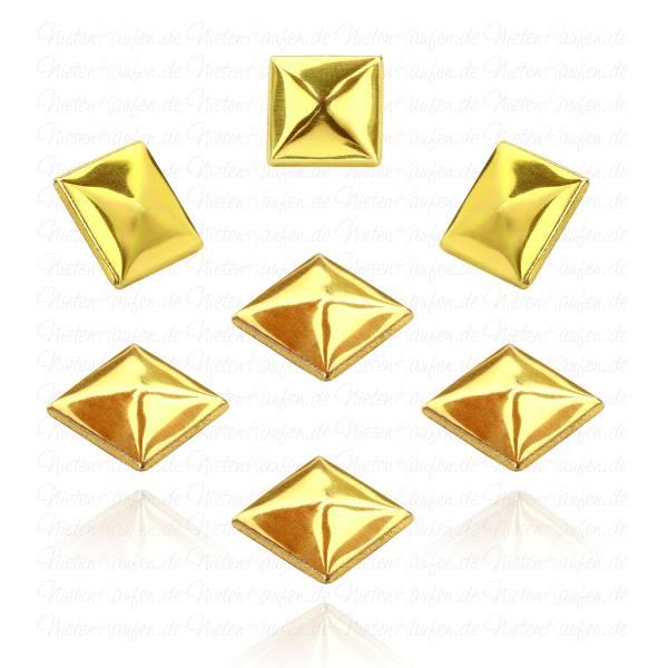 Hotfix Pyramidennieten zum Aufbügeln in Gold 12 mm