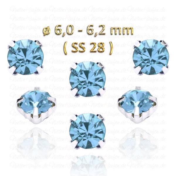 Saphirblaue Kristall Strasssteine zum Aufnähen mit Fassung ( SS28 ) ø 6.0