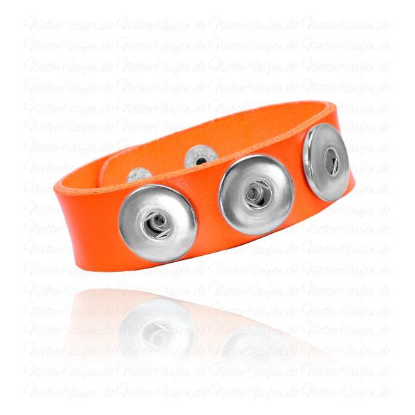 Oranges Lederarmband Für 18 mm Chunks Buttons