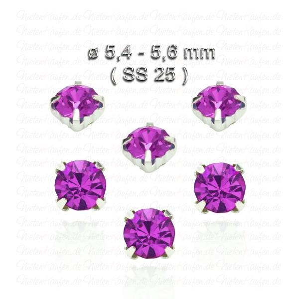 Amethystfarbene Kristall Strasssteine zum Aufnähen mit Fassung ( SS25 )