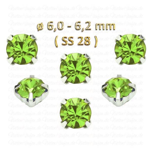 Grüne Kristall Strasssteine zum Aufnähen mit Fassung ( SS28 ) ø 6.0