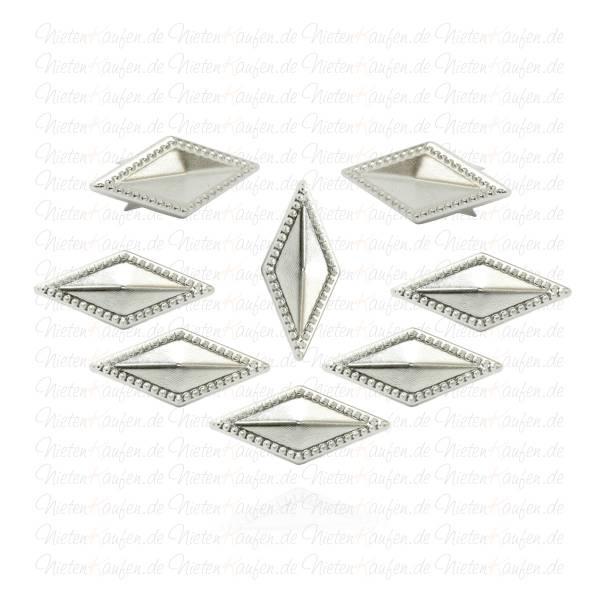 Verzierte Rhomben Nieten / Rauten Nieten 21x12mm