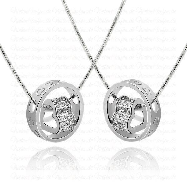 Silberne Herzkette mit Weißen Kristallen