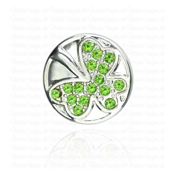 Kleeblatt Chunk Button mit Grünen Zirkonia Steinen