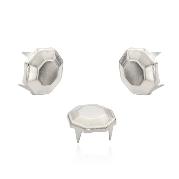 Octagon Nieten Silber 12 mm
