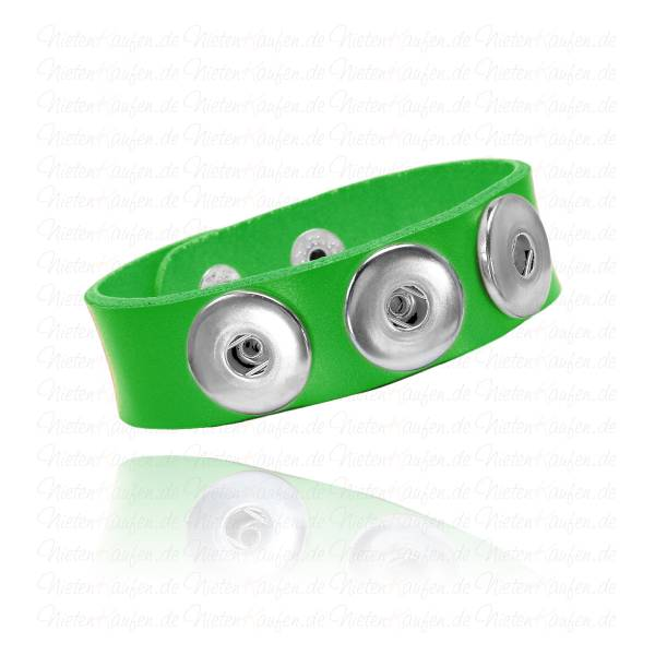 Neon Grünes Lederarmband Für 18 mm Chunks Buttons