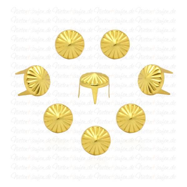 verzierte Spitznieten - Kegelnieten in Gold