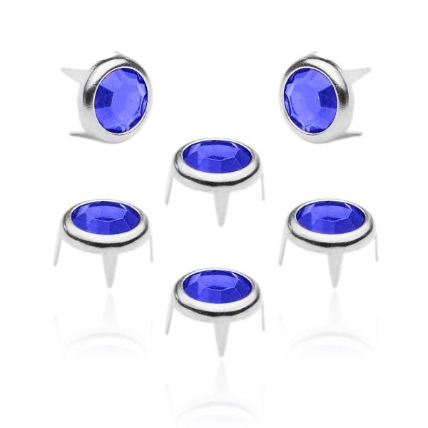 8 mm Strassnieten Silber Blau