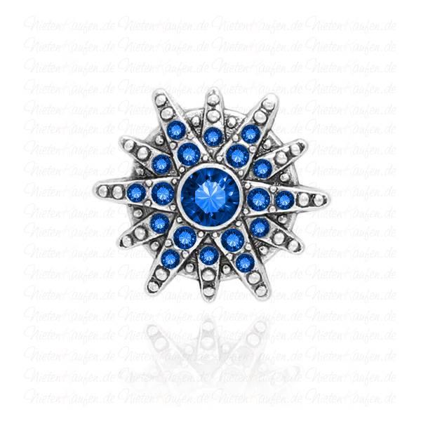 Sternen Chunk Button aus Metall mit Blauen Zirkoniasteinen