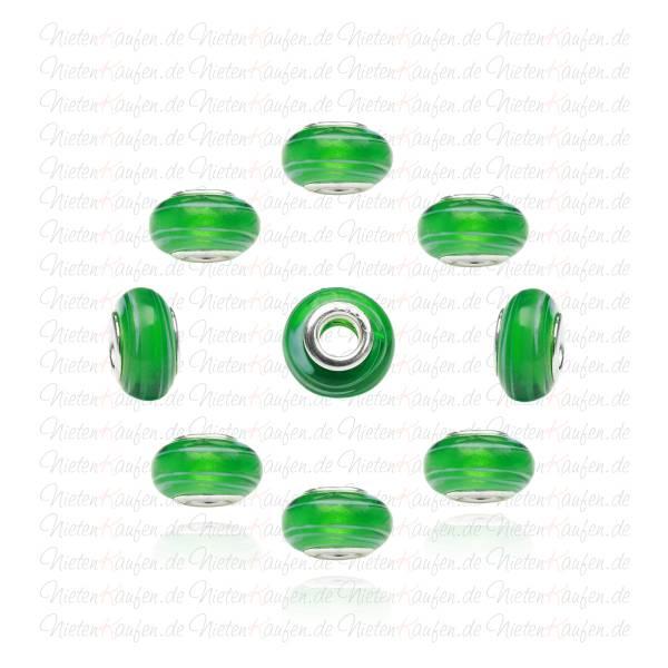 Beads aus Glas in Grün mit weißen Linien