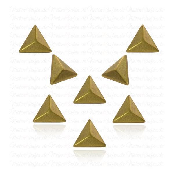 Hotfix Dreieck Nieten zum aufbügeln in Altmessing 9 mm