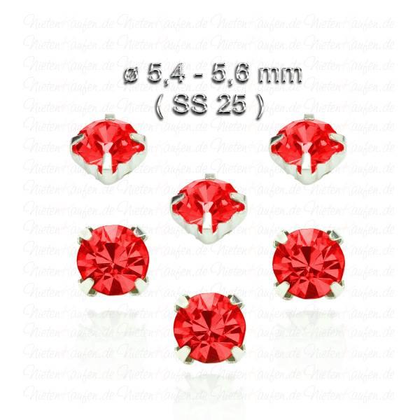 Rote Kristall Strasssteine zum Aufnähen mit Fassung ( SS25 )