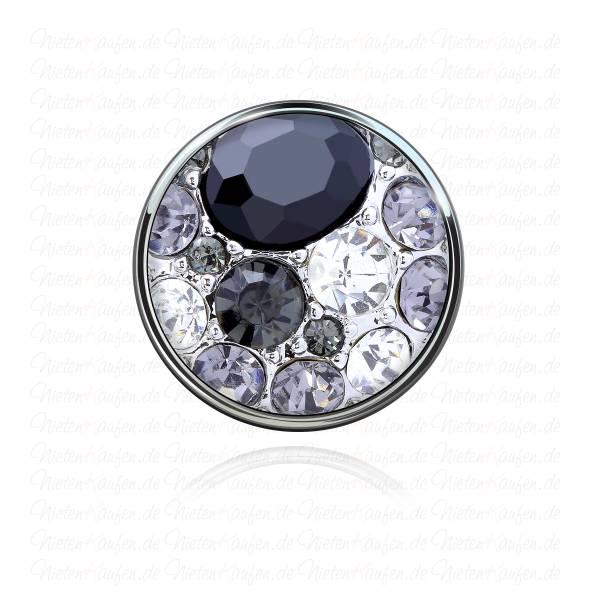Chunk Button weißen und schwarzen Zirkoniasteinen