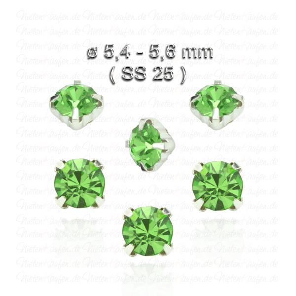 Grüne Kristall Strasssteine zum Aufnähen mit Fassung ( SS25 )