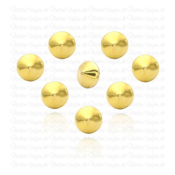 Goldene Kegelnieten - Spitznieten -  Klebenieten - Bastelnieten - Nieten zum Aufkleben - Bügelnieten - Nieten zum Aufbügeln