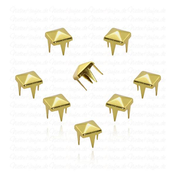 Goldene Pyramidennieten 6 mm