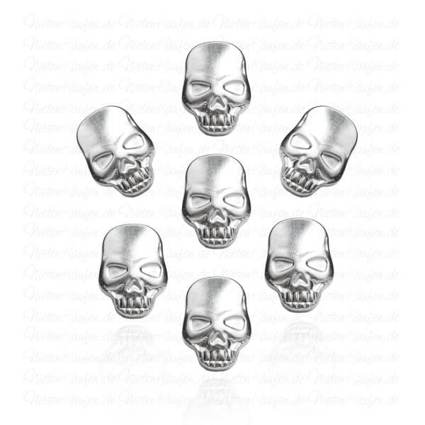 Silberne Totenkopf Nieten zum Aufbügeln oder Aufkleben
