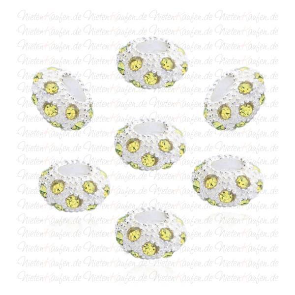 Bead aus Metall mit Gelben Kristallen