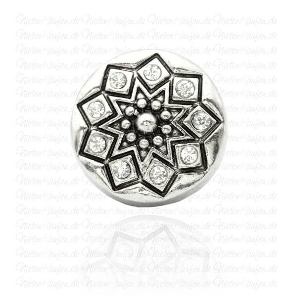 Chunk Button - Chunk Druckknopf Antik mit weißen Zirkoniasteinen