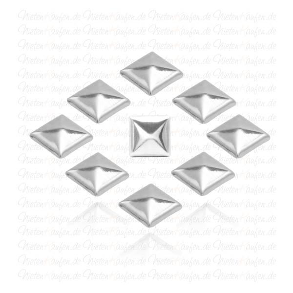 Silberne Pyramiedennieten -  Klebenieten - Bastelnieten - Nieten zum Aufkleben